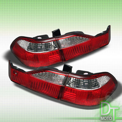 For 1998-2000 Honda Accord 4-Door Sedan Red Clear Tail Lights Lamps Left+Right