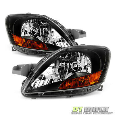 For 2007 2011 Toyota Yaris 4Dr Sedan Black Headlights Headlamps LeftRight 07 11