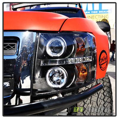 Blk 2007-2013 Chevy Silverado 1500/2500/3500 LED Halo Projector Headlights Lamps