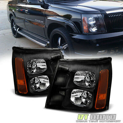 Black 2003-2006 Cadillac Escalade Headlights Lights 03 04 05 06 (HID Model Only)