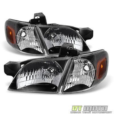 Black 1997-2005 Chevy Venture Silhouette Montana Headlights+Parking Signal Lamps