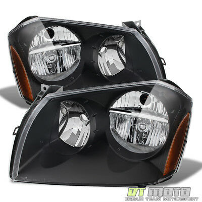Black 2005-2007 Dodge Magnum Replacement Headlights Headlamps Pair Left + Right