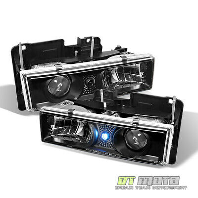 Black Fits 1988-1998 Chevy/Gmc C/K  Pickup Truck Led Projector Headlights Pair
