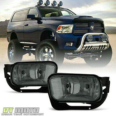 Smoked 2009-2012 Dodge Ram 1500 10-18 2500 3500 Bumper Fog Lights w/Bezel+Bulbs