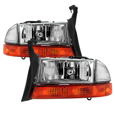 - Dodge 97-04 Dakota 98-03 Durango Crystal Clear Replacement Headlights + Corner