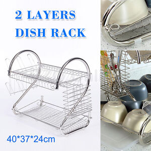 2 Layers Dish Rack Drainer Drying Cutlery Utensil Caddy Cup Tray Plated Steel