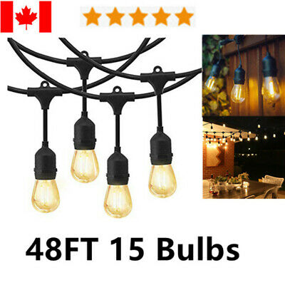 48FT Outdoor Globe String Lights Patio Yard Garden Lighting S14/E26 15 LED Bulbs