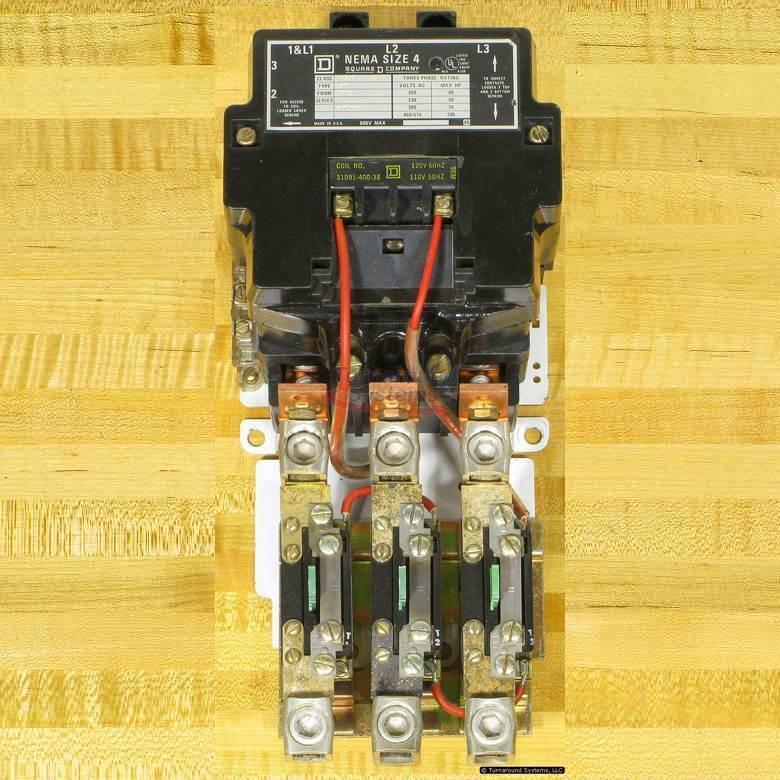 Square D 8536SFO1V02SY59 Starter, Size 4, 120 VAC Coil, 8536SFO1V02S, Used