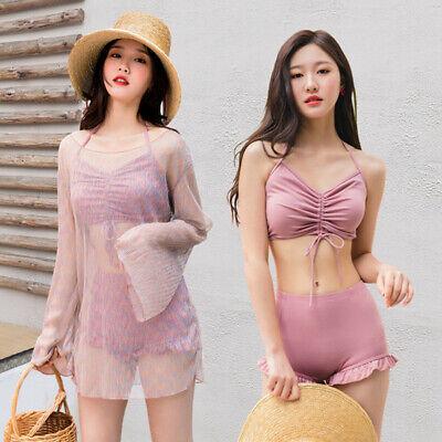 Hot Sale! Korean Women Three Piece Thin Tops Bikini Swimsuit Sexy Bathing Suit ()