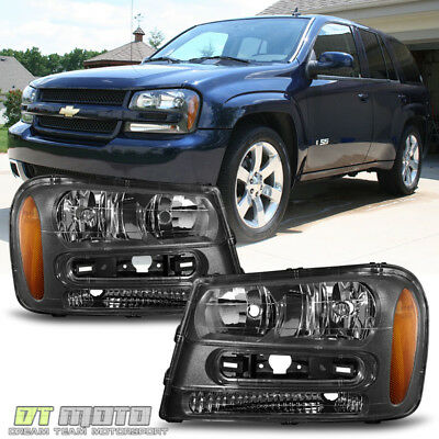 Black 2002-2009 Chevy Trailblazer Replacement Headlights Headlamps Left+Right