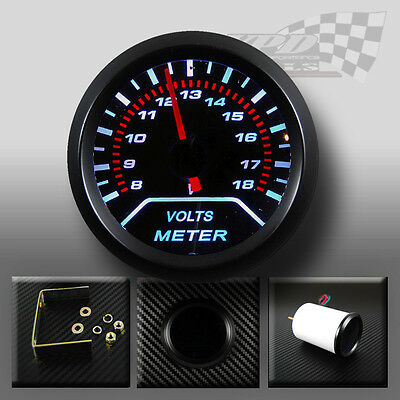 Volt Battery gauge 8-18v white led smoked dial face black interior dash 52mm