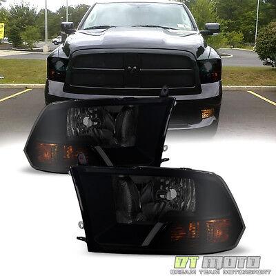 2009-2018 Dodge Ram 1500 10-18 2500 3500 Blk Smoke Headlight Headlamp Left+Right