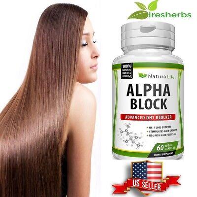 ALPHA BLOCK DHT BLOCKER HAIR LOSS VITAMINS GROWTH REGROWTH SUPPLEMENT 60 (Hair Growth Pill)
