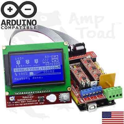Arduino Ramps V1.4 3d Printer Kit Mega 2560 4 X A4988 Drivers Lcd12864 Mcu