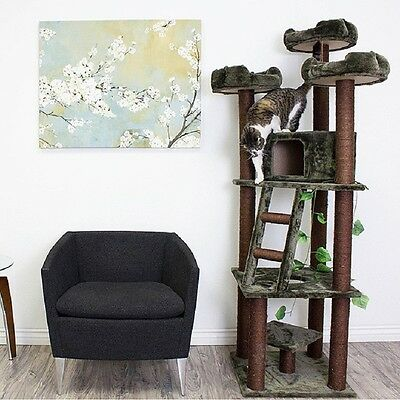 Cat Tree Auditorium Pet Furniture Play Tower Post Scratcher Kitten Condo Toy Bed New