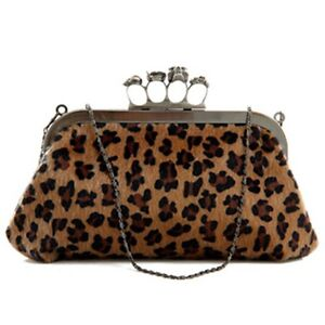 Skull Knuckle Rings Handbag Fake fur Leopard Print Clutch Evening Bag