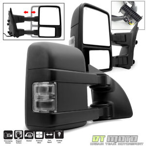 Left+Right 2008-2016 Ford F250 Super Duty Power Heated Signal Tow Mirrors SMOKE