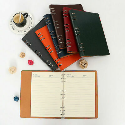 A5a6 Leather Lined Notebook Loose-leaf Journal Business Hardback Notepad Diary