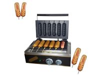 Commercial Nonstick Electric Hot Dog on A Stick Waffle Maker Iron Machine