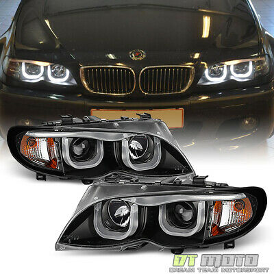 Black 2002-2005 BMW E46 Sedan 3-Series LED [3D Style] Halo Projector Headlights Bmw E46 3 Series Sedan