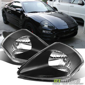 Blk 2000-2005 Mitsubishi Eclipse Replacement Headlights Headlamps Set Left+Right