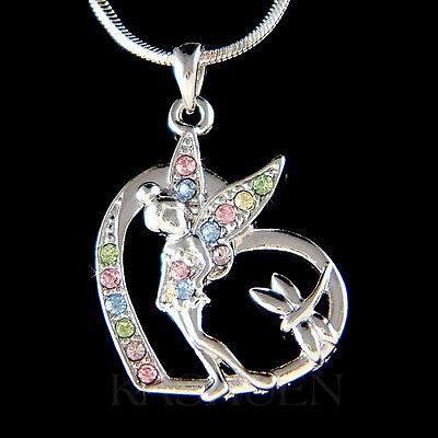 w Swarovski Crystal ~Rainbow Tinker Bell~ Tinkerbell Fairy Angel Heart -