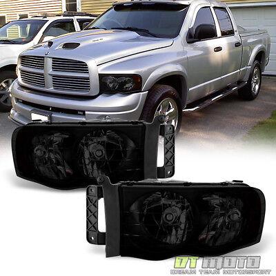 Black Smoke 2002-2005 Dodge Ram 1500 2500 3500 Headlights Headlamps Left+Right