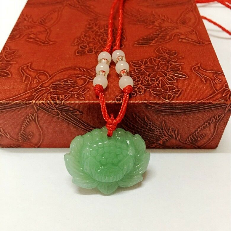 Jewellery - Natural Green Jade Lotus Pendant Necklace Fashion Lucky Charm New