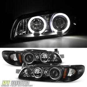 Black 1997 2003 Pontiac Grand Prix Led Halo Projector Headlights Lamp Left Right