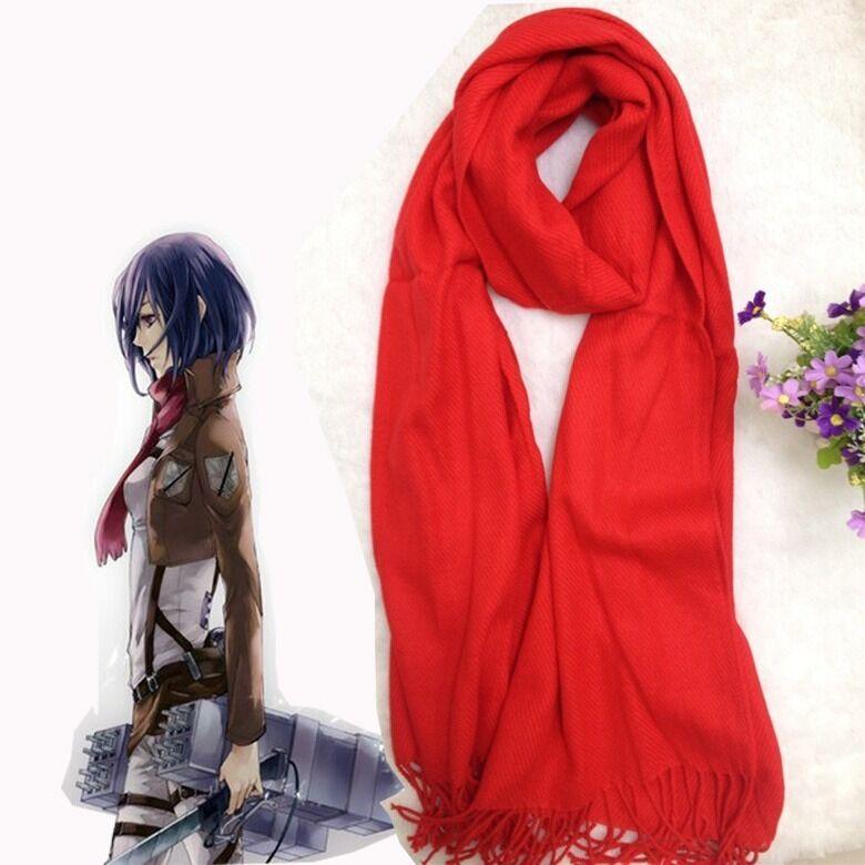 Details About Attack On Titan Mikasa Ackerman Cosplay Red Scarf Shingeki No Kyojin Costume