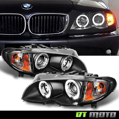Blk 2002-2005 BMW E46 3-Series Sedan Halo Projector Headlights Corner Lamp 02-05 Bmw E46 3 Series Sedan