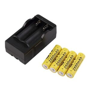 4pcs 14500 3.7V 2500mAh Rechargeable Li-ion Battery + Charger For Flashlight DD