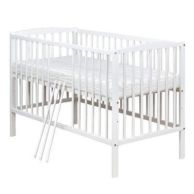 Babybett Kinderbett Gitterbett Weiß Massivholz 120x60 inkl. Matratze