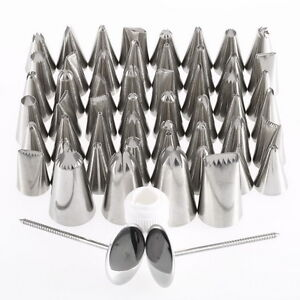 Pastry Fondant Cake Decorating Sugar Craft Piping 52 x Icing Nozzle Tips Set TJ
