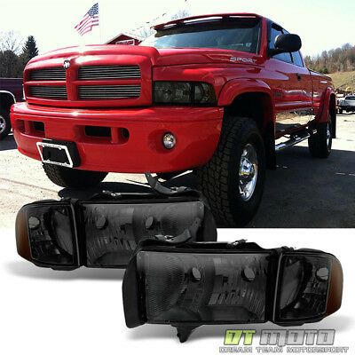 Smoked 1999-2002 Dodge Ram 1500 2500 23500 Sport Headlights Corner Signal Lamps