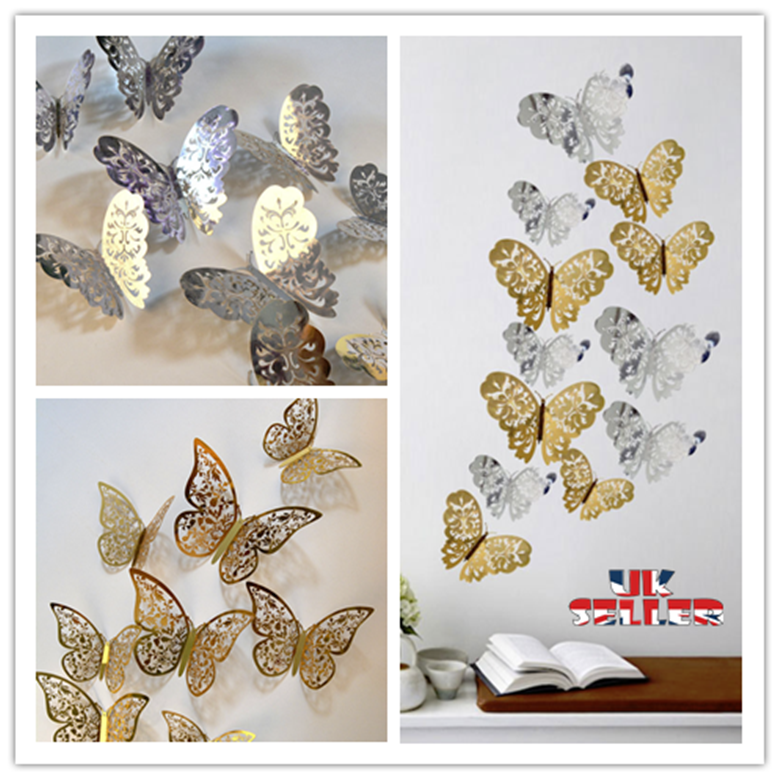 Home Decoration - 12PCs Hollow Butterfly 3D Wall Stickers Decors Wall Art Wall Home Decorations UK