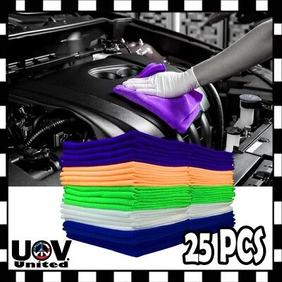 25PC Pack Microfiber Cleaning Cloth Towel No-Scratch Rag Car Polishing Detailing