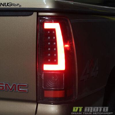 Black 1999-2002 Chevy Silverado 1500 99-06 GMC Sierra LED Tube Tail Lights Lamps