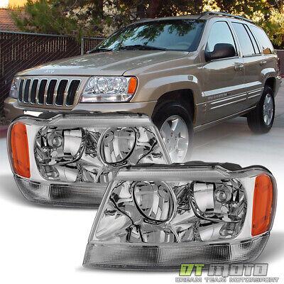 1999-2004 Jeep Grand Cherokee Headlights Headlamps Replacement 99-04 Left+Right 2001 Jeep Grand Cherokee Headlights