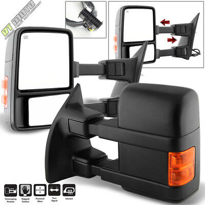 PAIR(2) 2008-2016 Ford F250~F550 Super Duty Power+Heated+Signal Tow Side - Super Duty Power Tow Mirrors