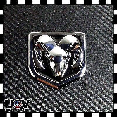 Fit Ram Dodge 1500 2500 3500 Chrome Black Emblem Tailgate Ram Head Medallion