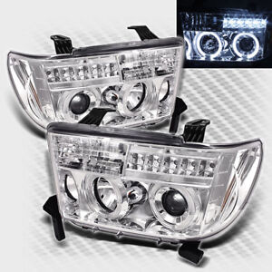 For 2007-2013 Toyota Tundra Dual Halo LED Projector Headlights Pair Head Lights