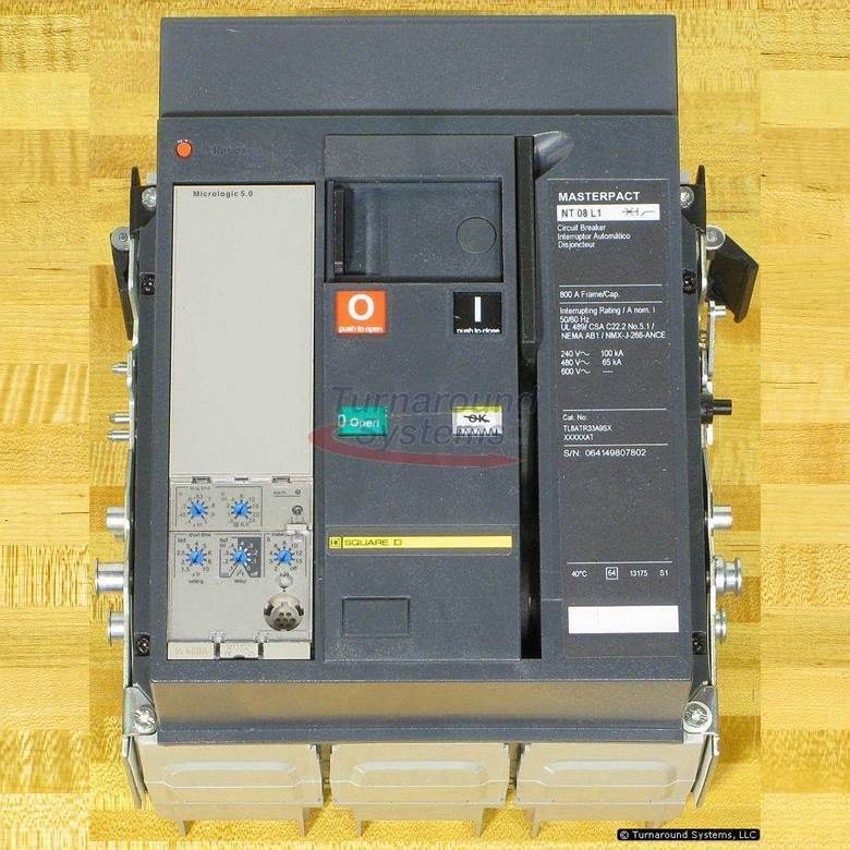 Square D Tl8atr33a9s Circuit Breaker, 600 Amp, 65 Kair, Nt08l1, Drawout, New