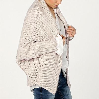 ITALY Damen oversize Fledermaus Strickjacke Jacke ALPAKA ECRU grau 36 38 40 online kaufen