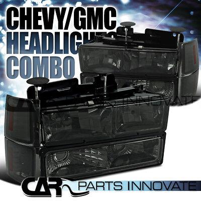 94-98 Chevy C10 C/K 1500 Tahoe Silverado Smoke Headlights w/ Bumper Corner Lamps