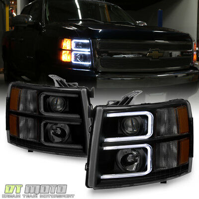 Blk Smoke 2007-2013 Chevy Silverado 1500 2500 LED DRL Tube Projector Headlights
