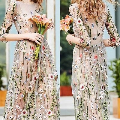 Fairy Flower Dress (Desinger Inspired Flower Embroidery Fairy Long Lady Dress M-2XL Hot Sale)