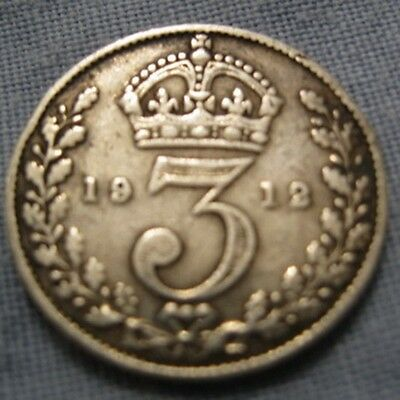 TITANIC SOLID SILVER Three pence 1912 Coin 3d Royal Mint Vintage Retro Antique