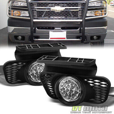 2003-2006 Chevy Silverado Avalanche Pickup Full White LED Fog Lights Lamp+Switch
