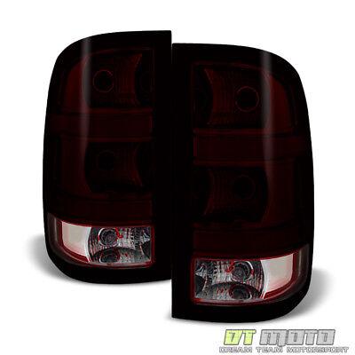 - 2007-2013 GMC Sierra 1500 2500 3500 Red Smoke Tail Lights Brake Lamps Left+Right